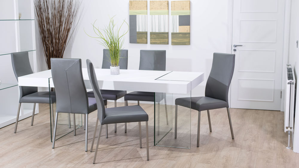 Brushed Metal Legged Dining Chairs and White Dining Table