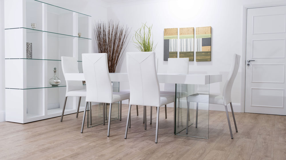 Modern White Floating Dining Set