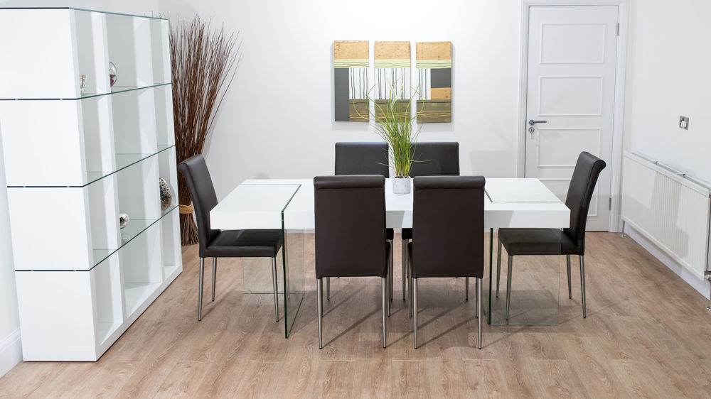 Large 6 Seater White Dining Table with Dark Dining Chairs