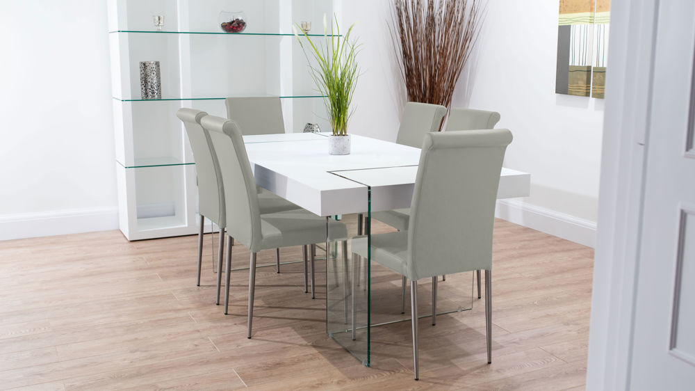 Modern Glass and Real Leather Dining Set