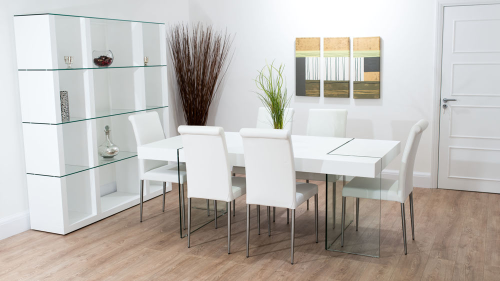 Stylish Leather Dining Chairs and 6 Seater White Dining Table