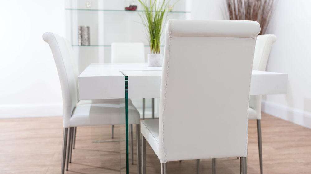 Contemporary White and Tempered Glass Dining Set
