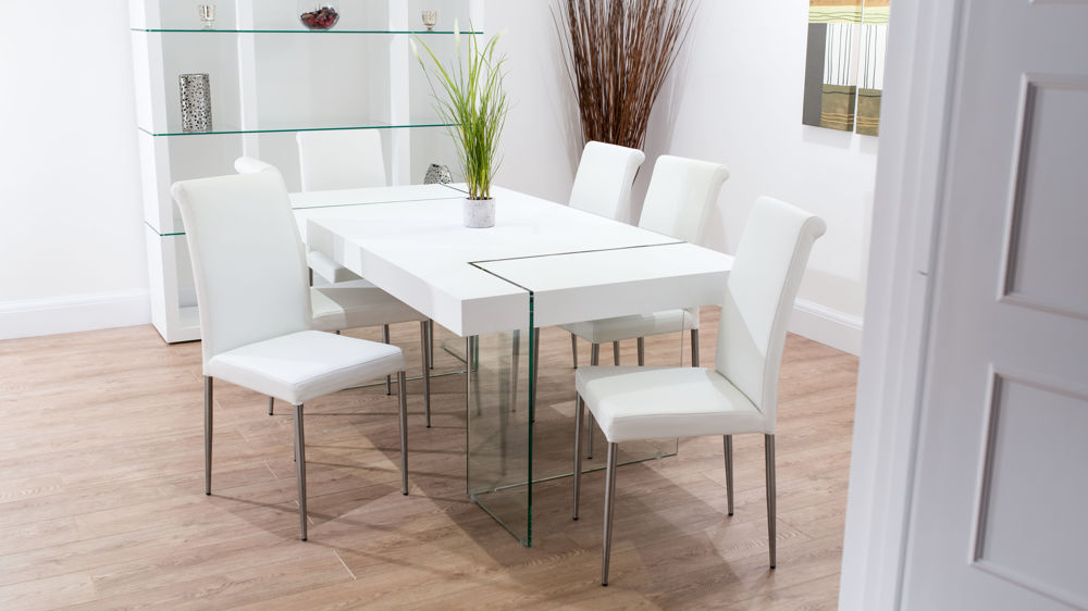 Premium Leather Dining Chairs and Floating White Dining Table