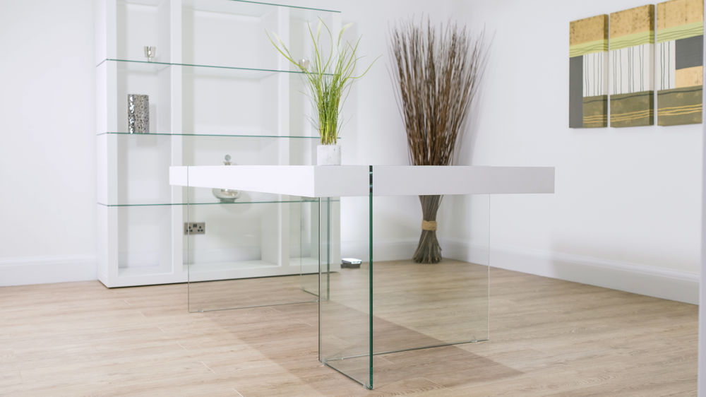 Strong Glass Legged White Dining Table