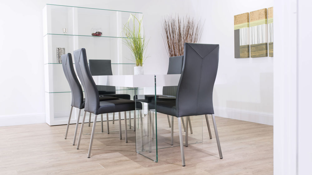 Real Leather Dining Chairs with White Floating Table