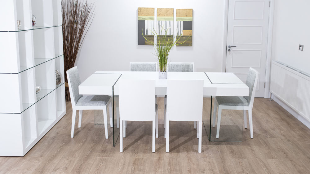 White Oak Dining Table Clear Glass Legs Seats 6 8 Uk