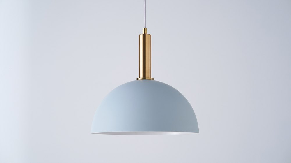 Brass and baby blue dome light