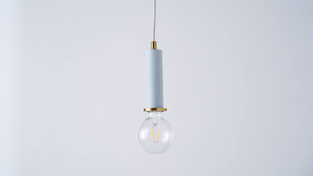 Light blue and brass pendant lights