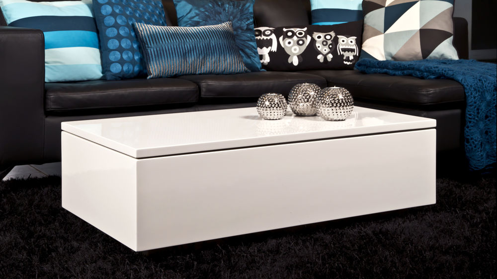 Large Rectangular Coffee Table Modern White Gloss