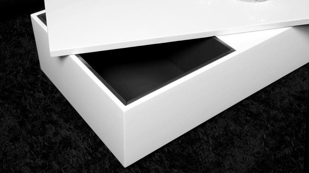Modern Rectangular White High Gloss Coffee Table With Storage Underneath