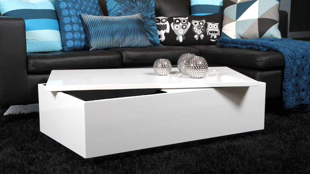 Modern White Gloss Coffee Table With Large Storage Space