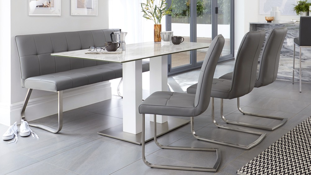 buttoned cantilever dining chairs