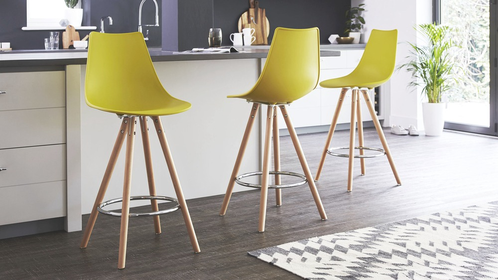 New Colourful Plastic Bar Stool | Solid Beech | UK AY56