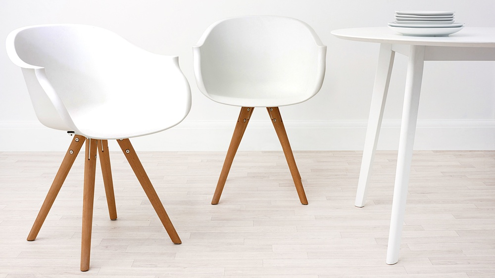 Modern Wood and White Dining Armchair