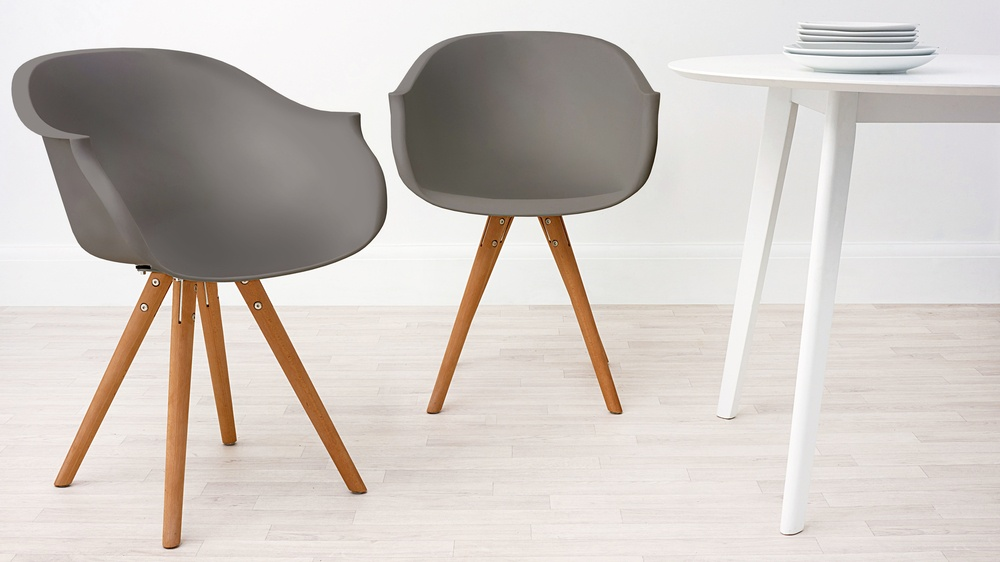 Modern Wood and Taupe Dining Armchair