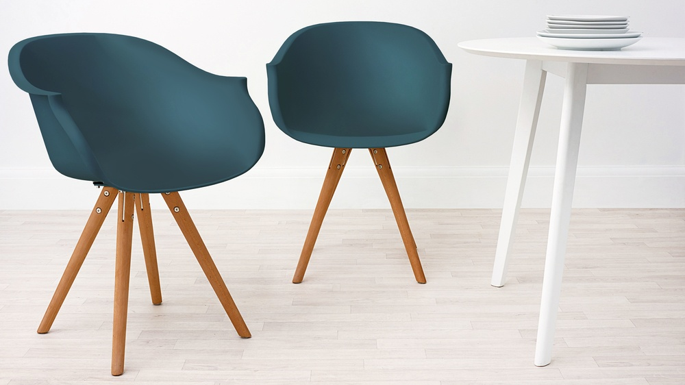 Modern Wood and Teal Dining Armchair