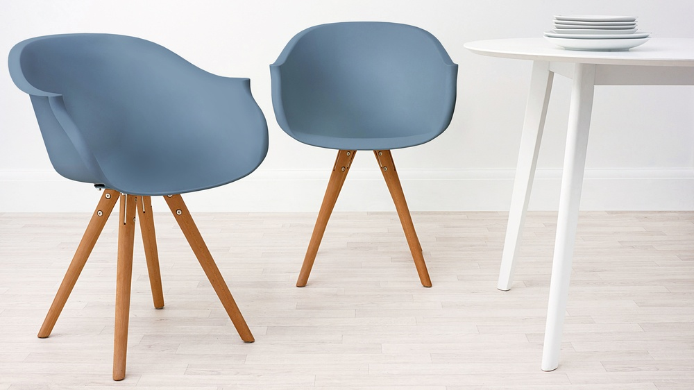 Modern Wood and Blue Dining Armchair
