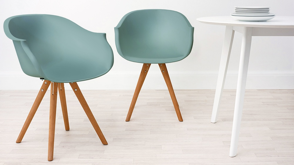 Modern Wood and Aqua Dining Armchair