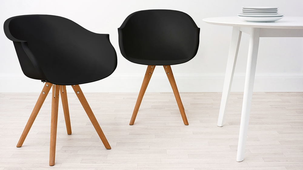 Modern Wood and Black Dining Armchair
