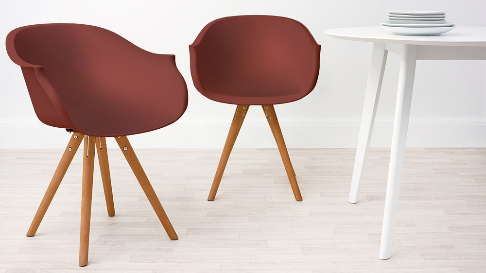 Modern Wood and Red Dining Armchair
