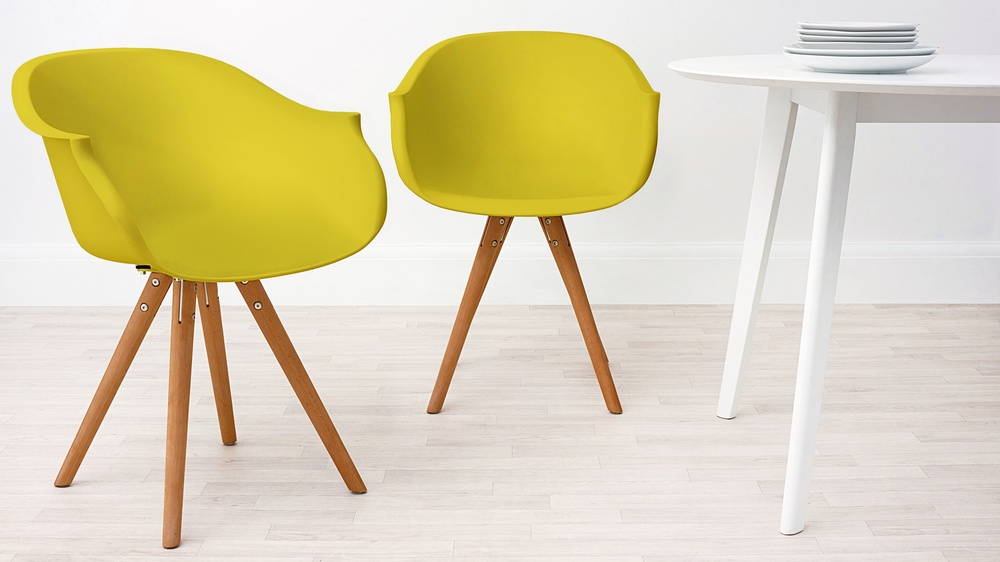 Modern Wood and Mustard Dining Armchair