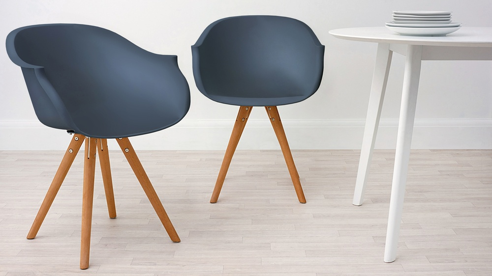 Modern Wood and Navy Blue Dining Armchair