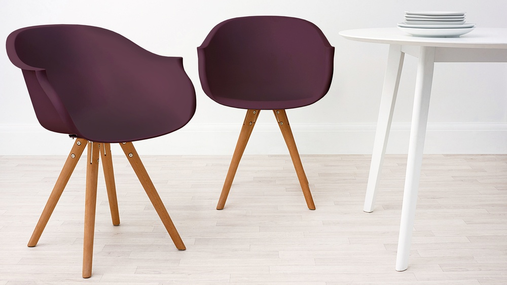 Modern Wood and Purple Dining Armchair