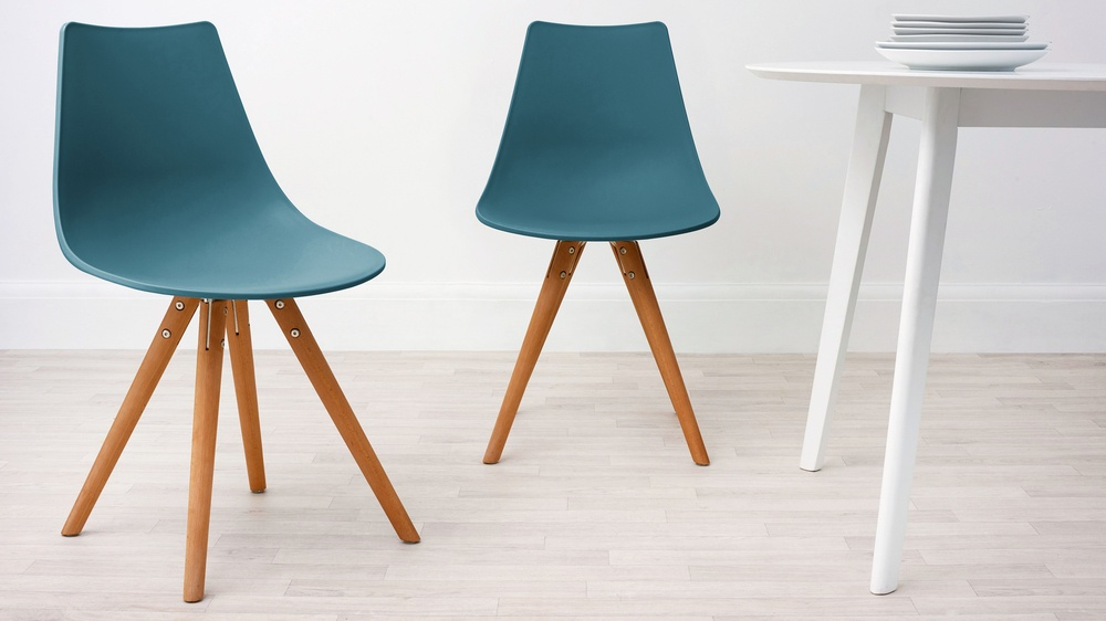 Teal and Wood Dining Chair
