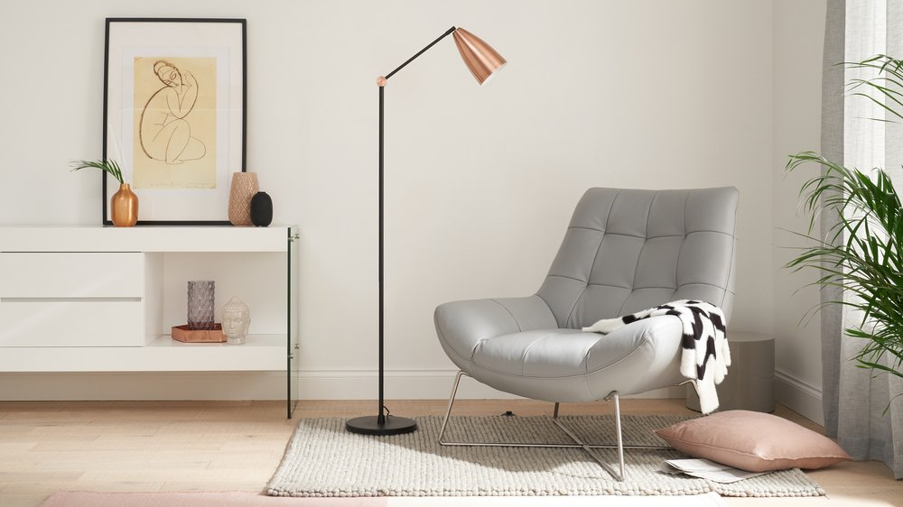 Copper and black floor lamp