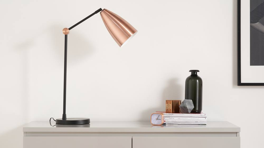 Copper and black large table lamps