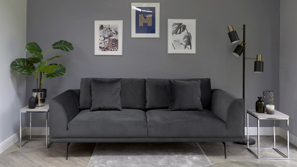 modern grey velvet 3 seater sofa