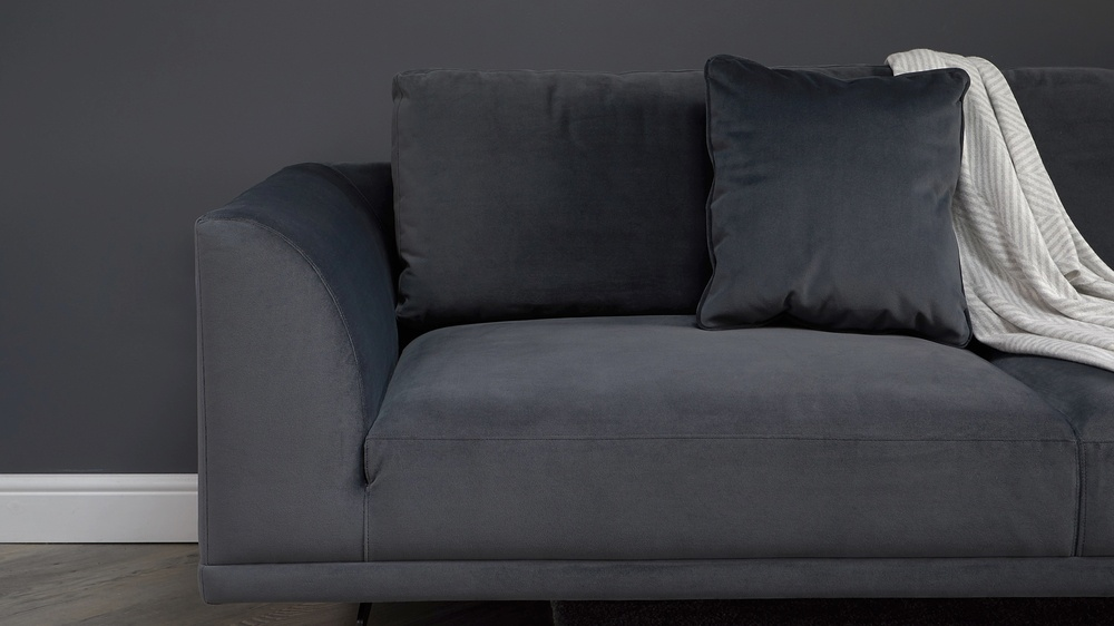 Florence 3 seater grey velvet sofa
