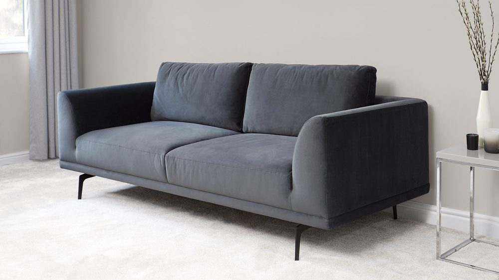 Florence Anthracite Grey Velvet 3 Seater Sofa