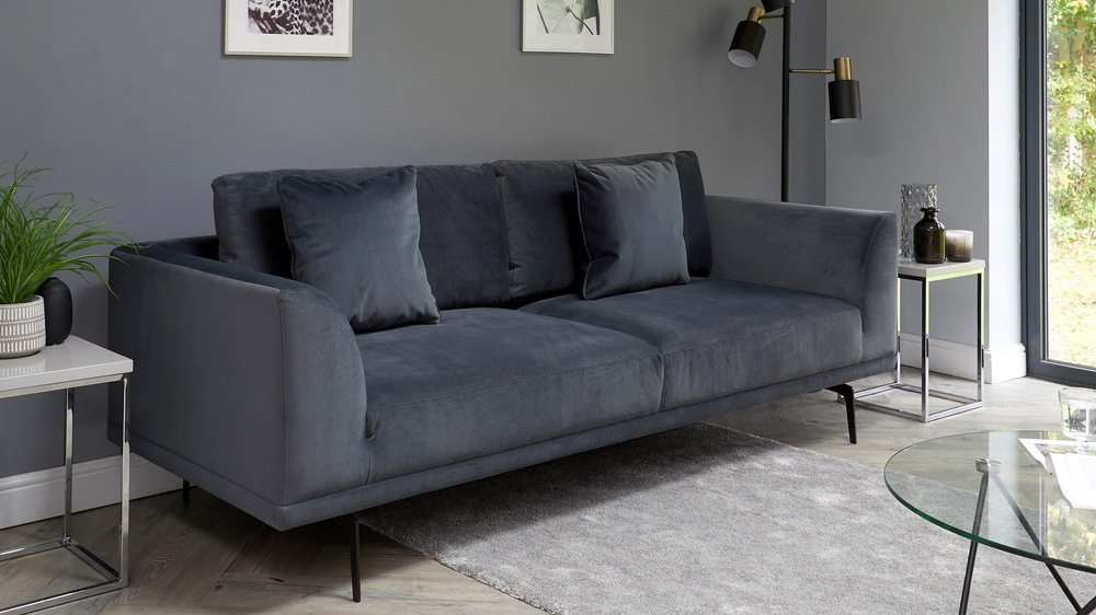 grey velvet sofa with black legs