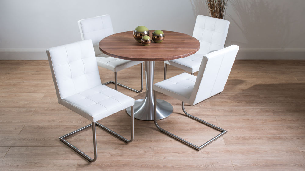 Modern Solid Walnut Round Dining Set For 4 Real Leather Dining Chairs