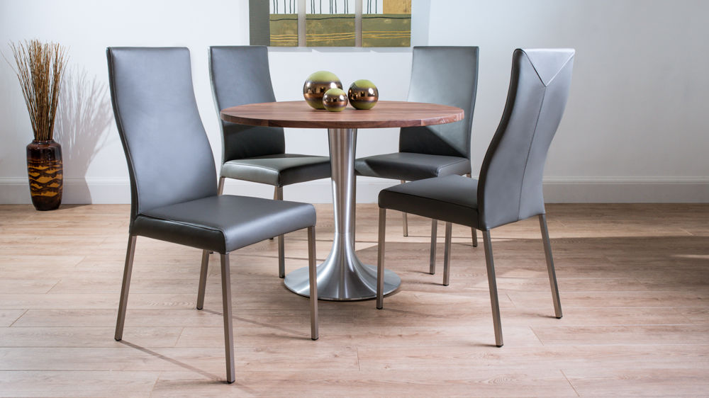 Contemporary Large Round Solid Walnut Dining Set With Real