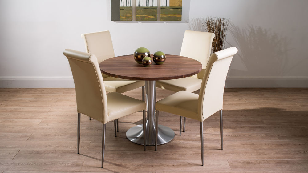 Large Round Walnut Dining Table And Real Leather Chairs