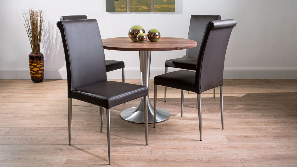Modern large round solid walnut dining table and real for Large round dining set