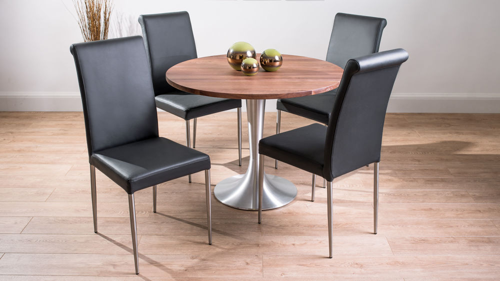 Modern Large Round Solid Walnut Dining Table And Real Leather Chairs