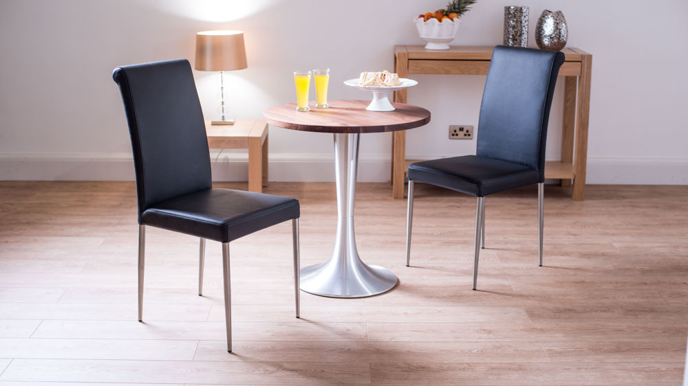 Small 2 Seater Table: Walnut Two Seater Round Dining Set