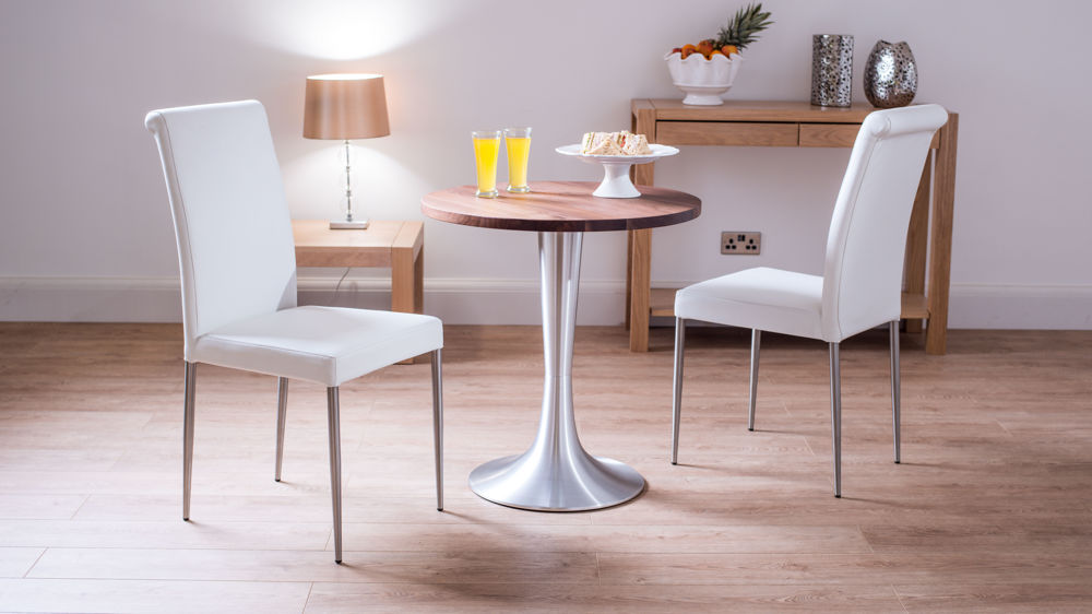 Walnut Two Seater Round Dining Set High Backed Leather