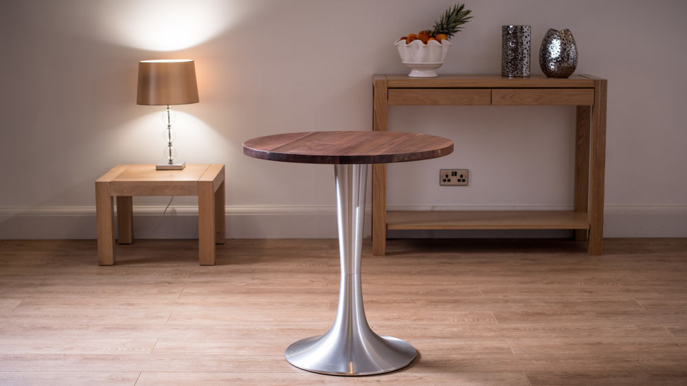 Round Solid Walnut Dining Table For 2 Brushed Aluminium
