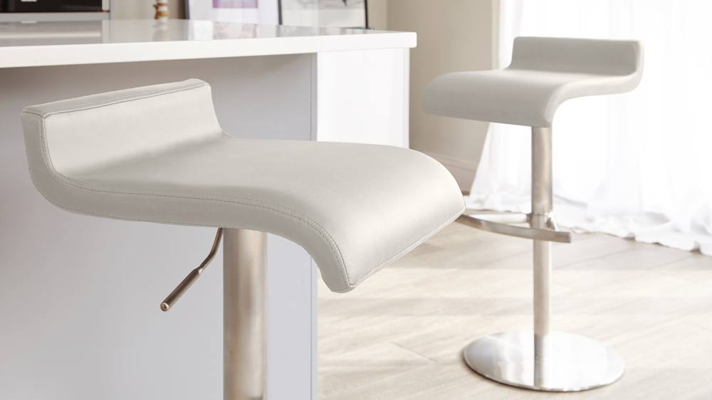 Light Grey Bar stool with a Brushed Metal Finish