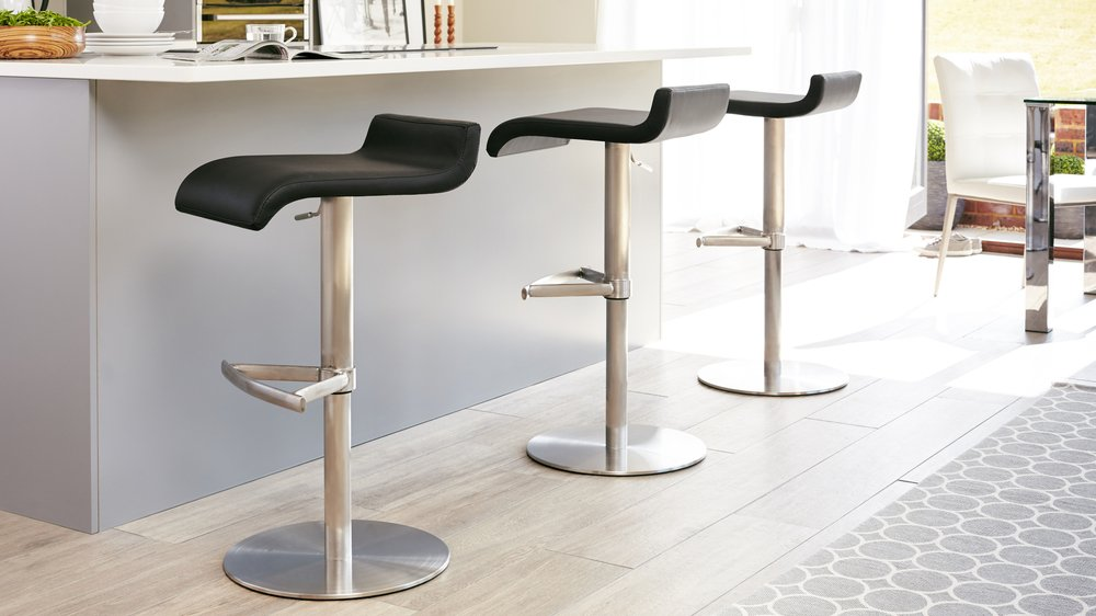 Black Leather and Brushed Steel Gas Lift Bar Stool