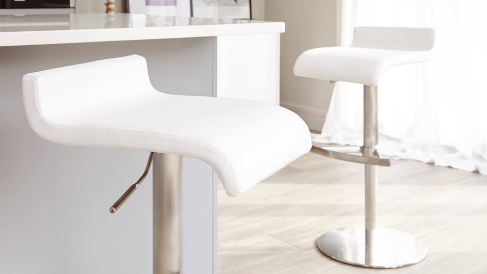 Stylish White and Stainless Steel Bar Stools