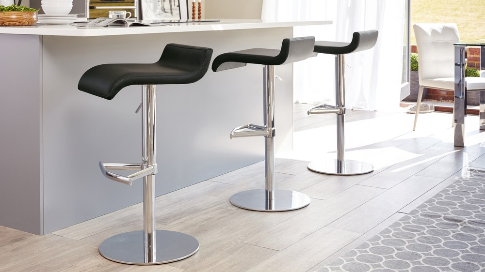 Chrome Bar Stools ~ Contemporary curvy bar stool black or white chrome
