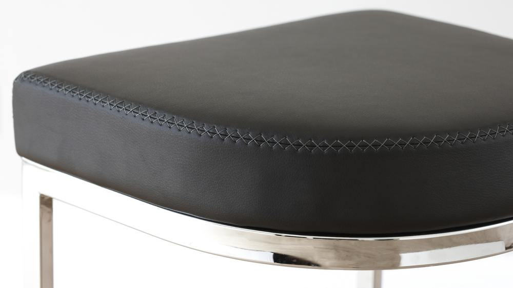 Modern Designer Black Faux Leather and Chrome Barstools