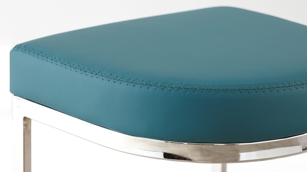Modern Designer Accent Teal Faux Leather and Chrome Barstools