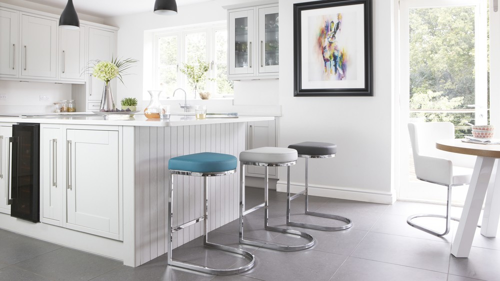 Modern Designer Faux Leather and Chrome Barstools