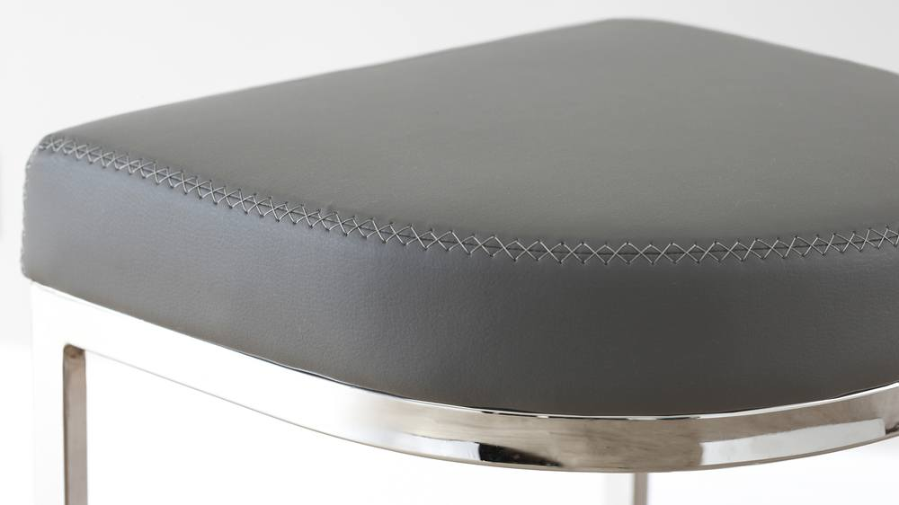 Modern Designer Grey Faux Leather and Chrome Barstools